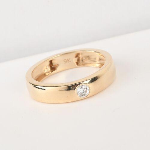 9K Yellow Gold SGL Certified White Diamond Flush Setting Band Ring 0.10 Ct.