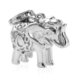 Platinum Overlay Sterling Silver Detailed Engraved Elephant Charm, Silver Wt. 6.68 Gms