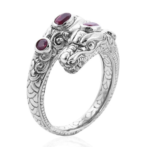 Royal Bali Collection - African Ruby Dragon Head Ring in Sterling Silver 1.08 Ct, Silver wt 8.00 Gms