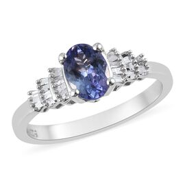 Premium Tanzanite and Diamond Ring in Platinum Overlay Sterling Silver 1.00 Ct.