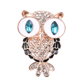 Simulated London Blue Topaz and White Austrian Crystal Enamelled Owl Brooch in Gold Tone