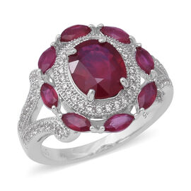 African Ruby (Ovl 10x8 mm), Natural White Cambodian Zircon Ring in Rhodium Overlay Sterling Silver 6