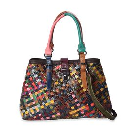 New Arrival- 100% Genuine Leather Multi Colour Blocking Pattern Tote Bag (Size 37x12x27 Cm)