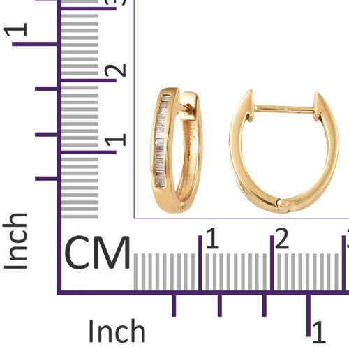 Diamond (Bgt) Hoop Earrings (with Clasp Lock) in 14K Gold Overlay Sterling Silver