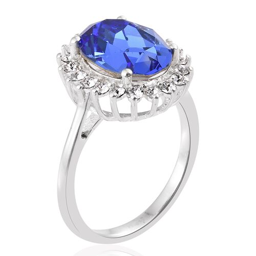 J Francis Crystal from Swarovski - Sapphire Colour Crystal (Ovl), White Crystal Ring in Sterling Silver