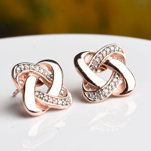 0.15 Carat Diamond Knot Stud Earrings (with Push Back) in Rose Gold Overlay Sterling Silver