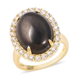 9.65 Ct Elite Shungite and Zircon Halo Ring in Gold Plated Sterling Silver 6.40 Grams