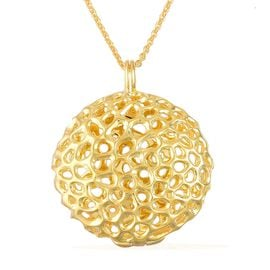 RACHEL GALLEY Yellow Gold Overlay Sterling Silver Disc Locket Pendant With Chain, Silver wt 19.85 Gms.
