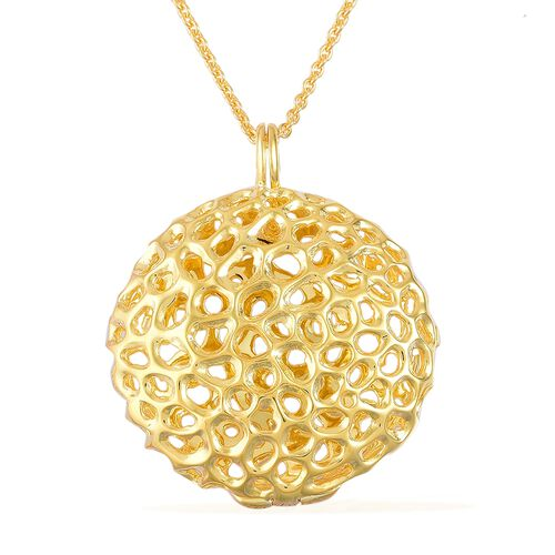 RACHEL GALLEY Yellow Gold Overlay Sterling Silver Disc Locket Pendant With Chain, Silver wt 19.85 Gm