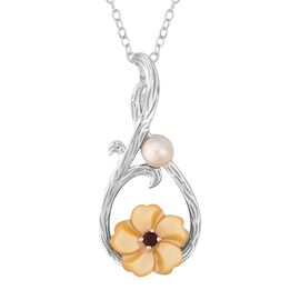 Yellow Mother of Pearl (1.25 Ct),Fresh Water Pearl ,Mozambique Garnet Sterling Silver Pendant With C