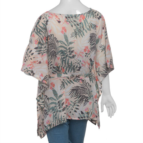 Designer Inspired- Limited Available- 100% Modal - Pink, Green and Multi Colour Flower and Leaves Pattern Top/ Kaftan  (Free Size)