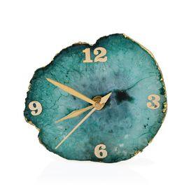 Handmade Agate Table Clock (Size 10-11.5 Cm) - Green
