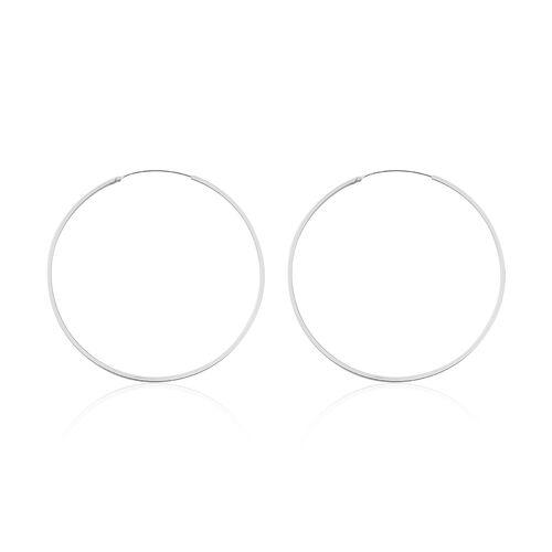 Rhodium Plated Sterling Silver Hoop Earrings 5.27 Gms.