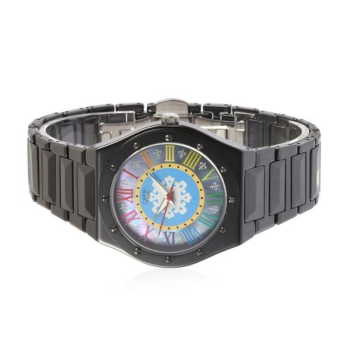 Limited Edition- GP CAPRI TIME Swiss Movement Fleur De Lis Grey MOP Multi Colour Roman Number Dial Water Resistant Watch in Stainless Steel