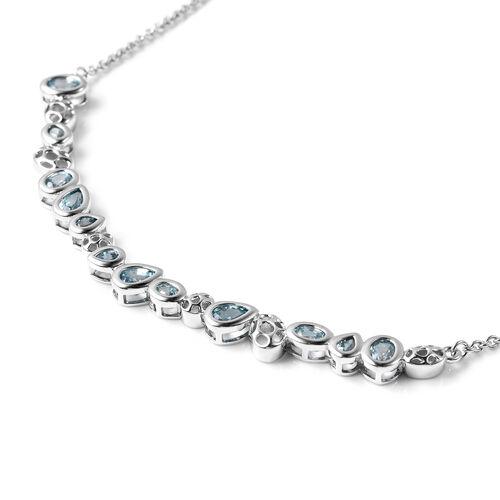 RACHEL GALLEY Misto Collection - Ratnakiri Blue Zircon Necklace (Size 20) in Rhodium Overlay Sterling Silver 5.67 Ct, Silver wt. 10.35 Gms