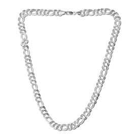 One Time Mega Deal- Sterling Silver Fancy Figaro Necklace (Size 20).Silver Wt 35.00 Gms