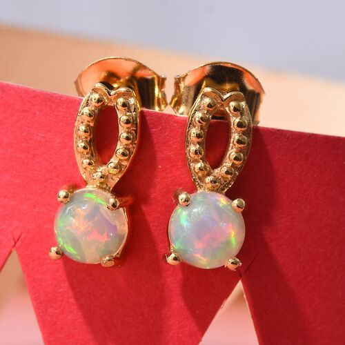 AA Ethiopian Welo Opal Earrings (with Push Back) in 14K Gold Overlay Sterling Silver 1.00 Ct.
