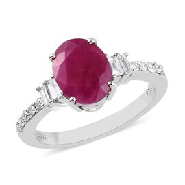 RHAPSODY 2.35 Ct AAAA Burmese Ruby and Diamond Solitaire Ring in 950 Platinum VS EF