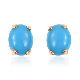 Arizona Sleeping Beauty Turquoise (Ovl) Stud Earrings (with Push Back) in Yellow Gold Overlay Sterling Silver 5.000 Ct.