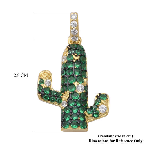 ELANZA AAA Simulated Diamond and Simulated Emerald Cactus Pendant in Black Plating, Yellow Gold and Rhodium Overlay Sterling Silver