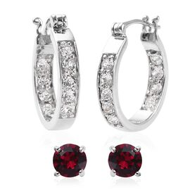 2 Pair Set - J Francis Crystal from Swarovski White Colour Crystal (Rnd), Swarovski Ruby Colour Crys