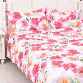 4 Piece Set - Pink Floral Print Comforter, Fitted Sheet and Two Pillow Case Double Size - Pink Colou