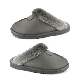Ella Jill Supersoft Faux Fur Mule Slipper in Grey Colour