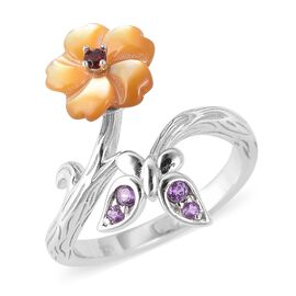 Yellow Mother of Pearl (1.25 Ct),African Amethyst,Mozambique Garnet Sterling Silver Ring  1.410  Ct.