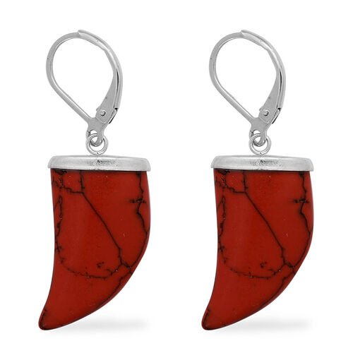 Red Howlite, White Austrian Crystal Necklace (Size 20) and Lever Back Earrings in Stainless Steel