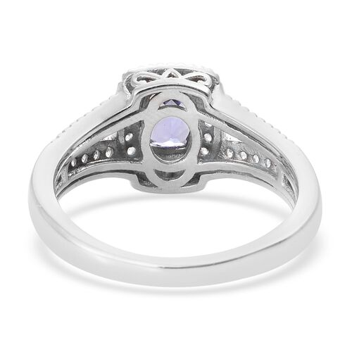 Tanzanite (Cush), Natural Cambodian Zircon Ring in Platinum Overlay Sterling Silver 1.000 Ct.