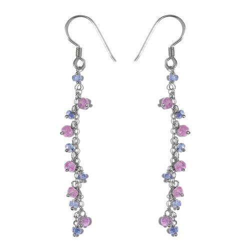 Mega Deal-Pink Sapphire (Rnd),Tanzanite Beads J Hook Earrings in Platinum Overlay Sterling Silver 4.140 Ct.