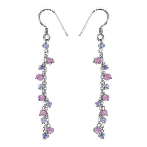 Mega Deal-Pink Sapphire (Rnd),Tanzanite Beads J Hook Earrings in Platinum Overlay Sterling Silver 4.