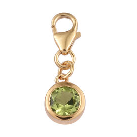 Chinese Peridot (1.00 Ct) 14K Gold Overlay Sterling Silver Charm  0.750  Ct.