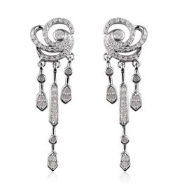 Diamond Drop Earrings (with Push Back) in Platinum Overlay Sterling Silver 0.50 Ct.