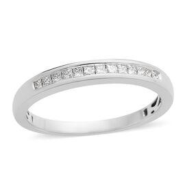 ILIANA 18K W Gold IGI Certified Diamond (Sqr) (SI/G-H)  Half Eternity Band Ring 0.250 Ct.