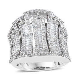 Limited Edition- Designer Inspired- Diamond (Rnd and Bgt) Cluster Ring in Platinum Overlay Sterling