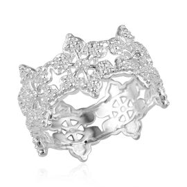 Diamond (Rnd) Snowflake Design Band Ring in Sterling Silver