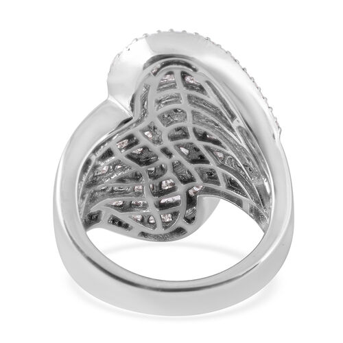 Diamond (Bgt) Cocktail Ring in Platinum Overlay Sterling Silver 2.00 Ct., Silver wt 9.50 Gms, Number of Diamond 414