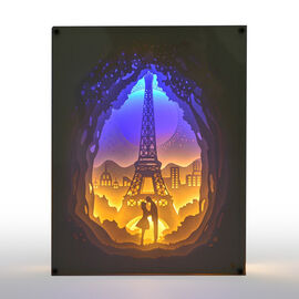 (Option 1) Home Decor - Fairy Tale Lighting with Paper Cut 3D Eiffel Tower Motif (Size 20.8x15.8x4.2 Cm)