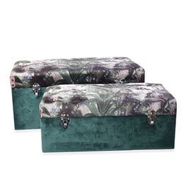 Set of 2 - Forest Pattern Green Velvet Wooden Storage Box