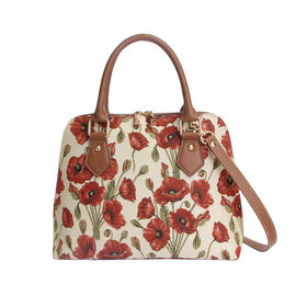SIGNARE - Tapestry Collection - Poppy Top-Handle Shoulder Bag with Removable Strap ( 36 x 23 x 12.5 Cms)