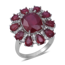 African Ruby (Cush), Natural Cambodian White Zircon Ring in Rhodium Overlay Sterling Silver 12.230 Ct, Silver wt 6.30 Gms.