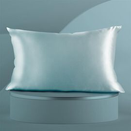 SERENITY NIGHT 100% Mulberry Silk Pillowcase Infused with Hyaluronic & Argan Oil in Light Teal Colou