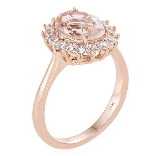 9K Rose Gold AA Moroppino Morganite (Ovl 1.60 Ct), Natural Cambodian Zircon Ring 2.000 Ct.