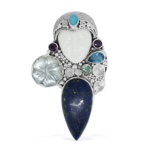 Princess Bali Collection OX Bone Carved Face, Lapis Lazuli, Mother of Pearl, Ruby, Orissa Green Kyanite and Arizona Sleeping Beauty Turquoise Pendant in Sterling Silver 32.060 Ct. Silver Wt. 15.00 Gms