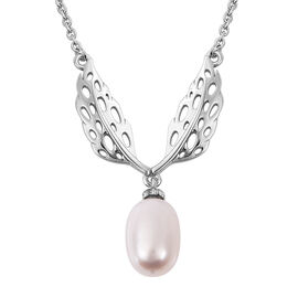 RACHEL GALLEY Freshwater White Pearl Lattice Feather Drop Necklace (Size 24) in Rhodium Overlay Ster
