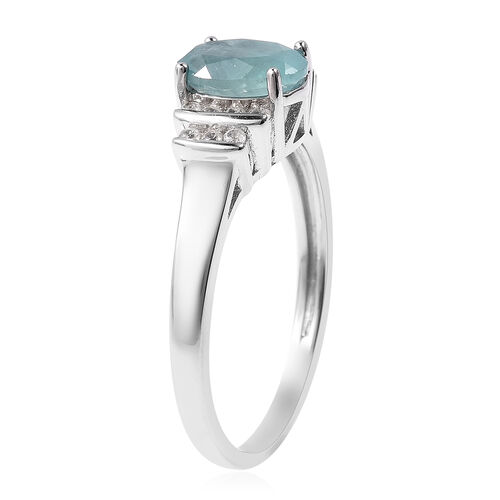 AA Grandidierite (Ovl 8x6mm), Natural Cambodian Zircon Ring in Rhodium Overlay Sterling Silver 1.50 Ct.