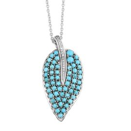 Arizona Sleeping Beauty Turquoise (Rnd), Natural Cambodian Zircon Pendant with Chain in Platinum Overlay Sterling Silver 3.000 Ct. Silver wt 7.00 Gms.