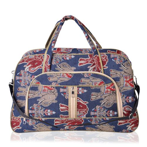 Elephant Pattern Light Weight Weekend Bag with an External Zipper Pocket and Removable Shoulder Strap (Size 50x33 Cm)