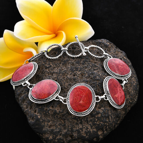 Royal Bali Collection - Sponge Coral Bracelet (Size 7 with 1 inch Extender) with T-Bar Clasp in Sterling Silver, Silver wt 10.00 Gms
